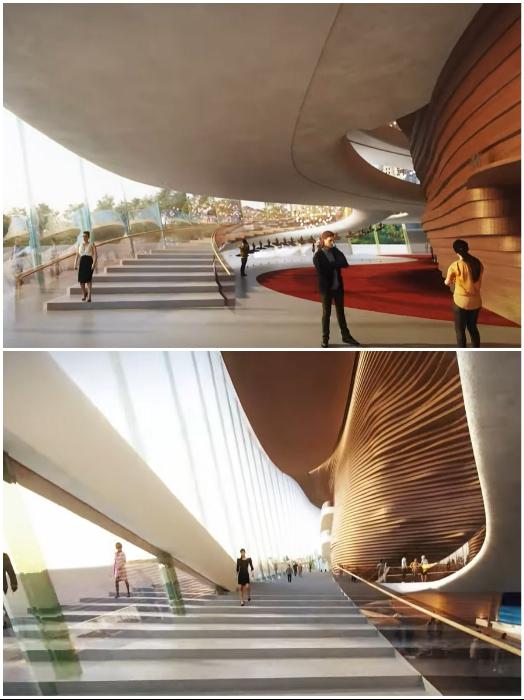 Панорамное остекление и несколько уровней позволят увидеть красоту города (концепт «wHY Architecture»). | Фото: youtube.com/ © Perm Opera Ballet Theatre.