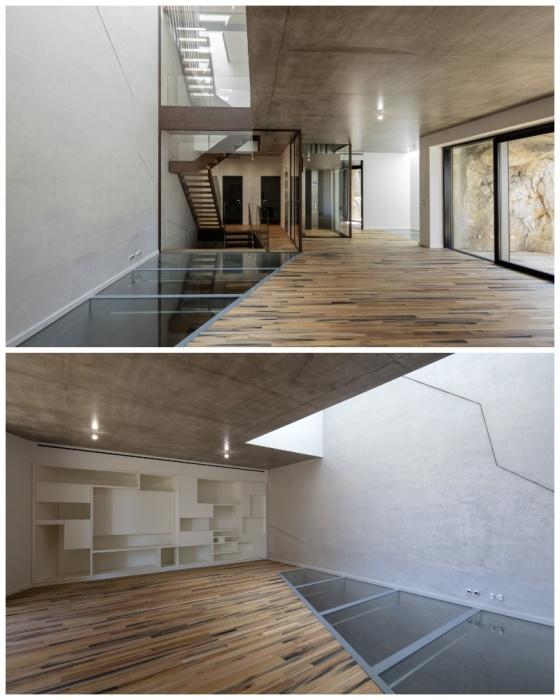 Стеклянный потолок обеспечивает дневным светом весь пещерный дом («Villa Troglodyte», Монако). | Фото: newatlas.com.