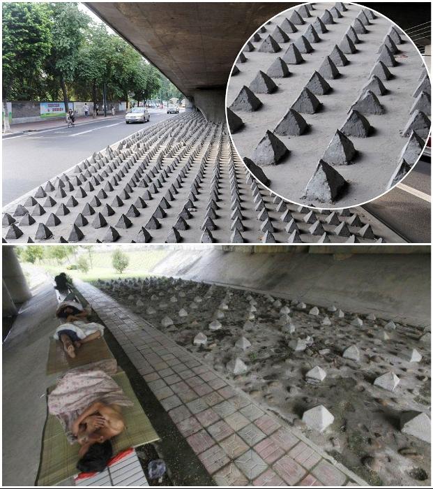 Вместо признания проблемы бездомности городские власти разных стран мира устанавливают бетонные шипы под мостами и эстакадами.