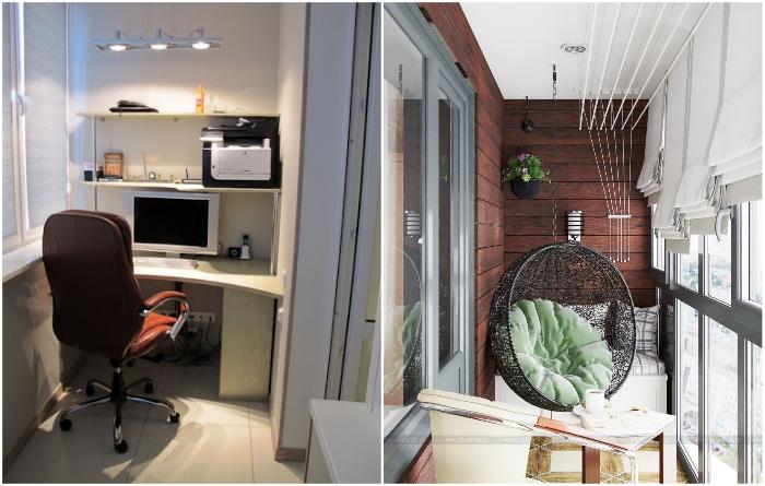 На балконе/лоджии можно оформить полноценную зону отдыха или рабочий кабинет. | Фото: balkonsami.ru/ divandi.ru.