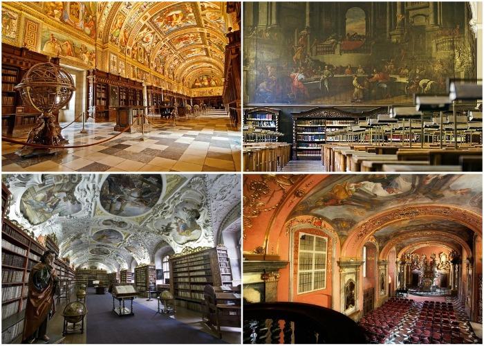 Залы библиотеки оформлены в роскошном стиле барокко.