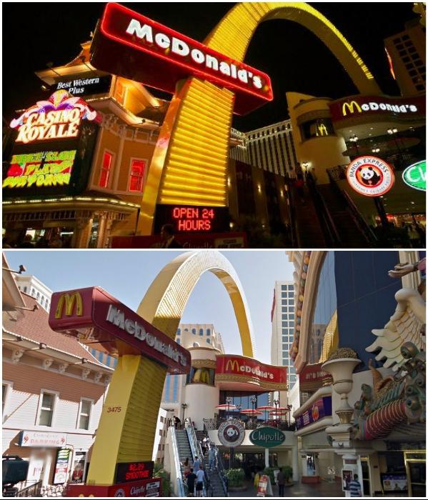 Ресторан McDonald's в Лас-Вегасе наравне с казино привлекает своими неоновыми огнями. | Фото: iloppmarknad.livejournal.com/ tripadvisor.com.
