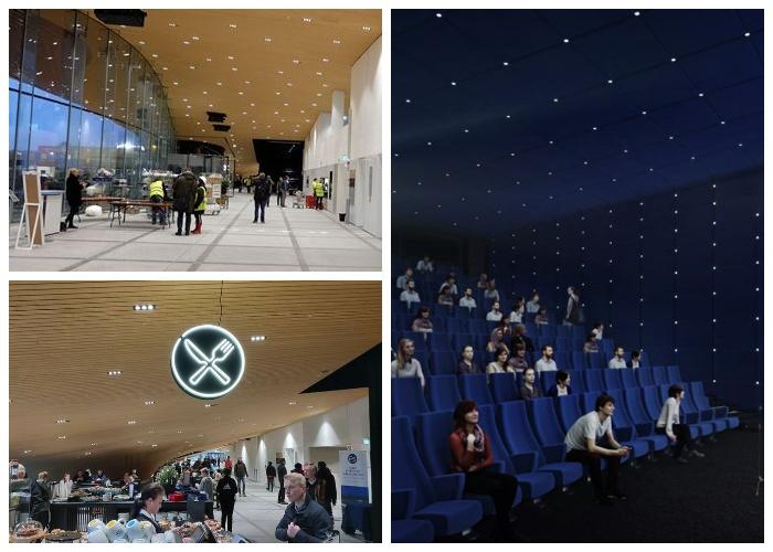 На первом этаже создали лектории, кинозал, кафетерий и залы для проведения различных мероприятий (Центральная библиотека Oodi, Хельсинки).