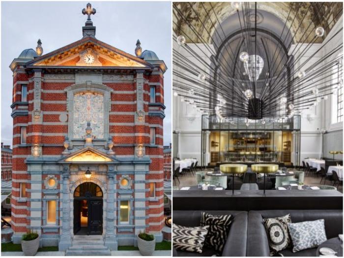 Два известных повара с помощью дизайнерской фирмы трансформировали здание церкви бывшего военного госпиталя в Антверпене (The Jane, Бельгия). | Фото: dhubua.blogspot.com.