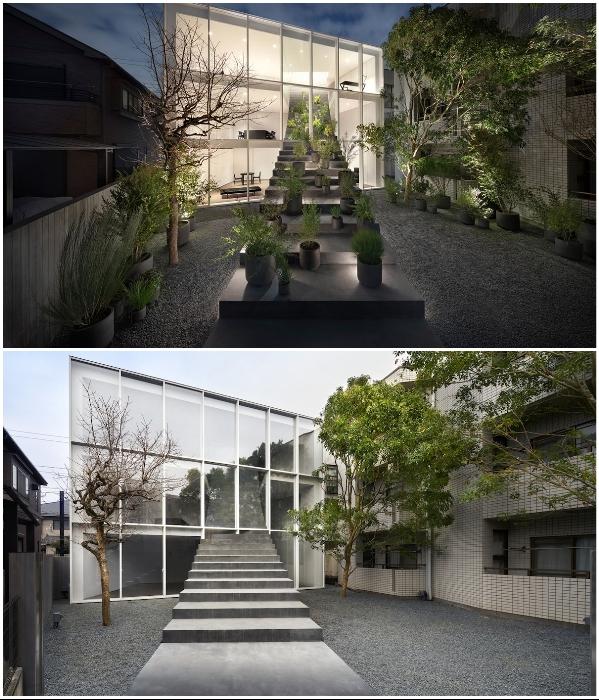 Скульптурная лестница, выходящая прямо из дома, стала главным украшением коттеджа-куба со стеклянным фасадом («Лестничный дом», Токио). | Фото: mymodernmet.com.