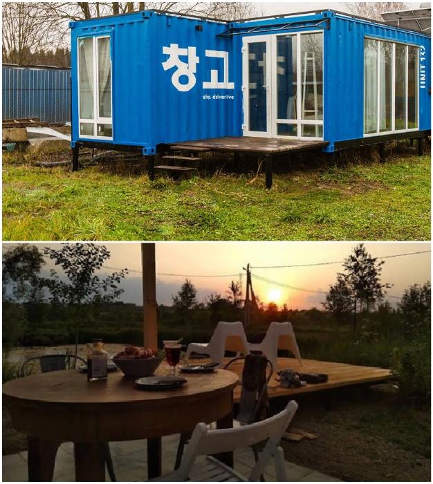 Дачный домик из 2 грузовых контейнеров: проект от супругов из Подмосковья