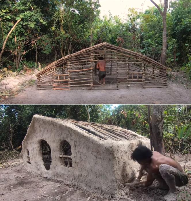 В одиночку камбоджиец построил дом используя ветки, бамбук, дерн и глиняный раствор. | Фото: youtube.com/ © Tube Unique Wilderness.