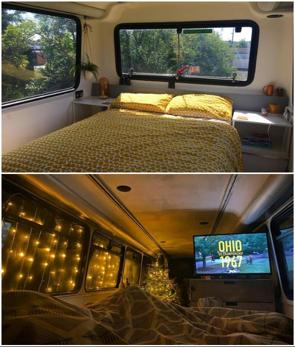 Спальная зона в доме-автобусе, созданном британскими влюбленными.