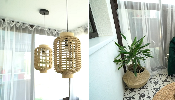 Плетенные столик, плафоны, корзина для комнатного цветка и воздушно-прозрачные занавески настраивают на приятный отдых и расслабление. | Фото: youtube.com/ @ INMYROOM TV.