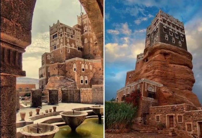 Фантастические очертания «Dar al-Hajar» на узкой высокой скале напоминает мираж (деревня Сук аль Вади, Йемен).