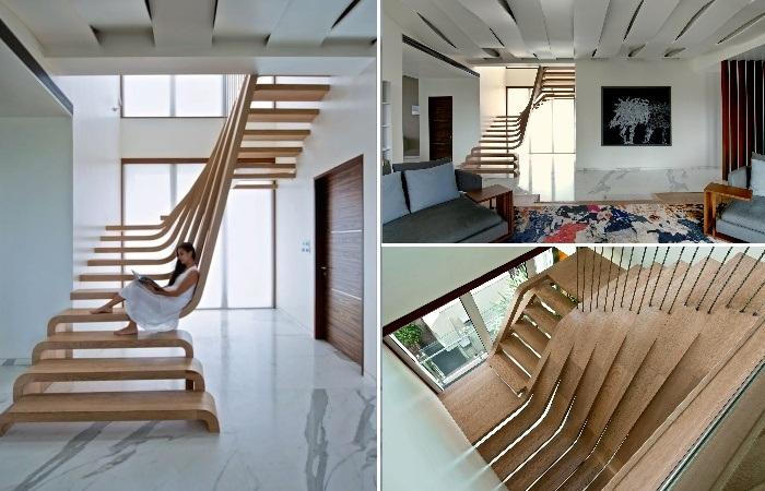Потрясающая лестница является настоящей скульптурой в современной квартире (Проект Arquitectura en Movimento). | Фото: mymodernmet.com.