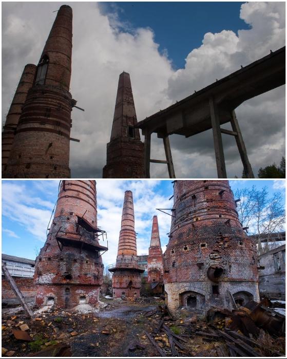 Огромные печи превратились в безмолвные памятники ушедшей эпохи (Рускеала, Карелия).