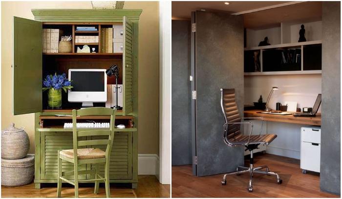 Любой шкаф можно превратить в мини-офис. | Фото: decoratorist.com/ archidea.com.ua.