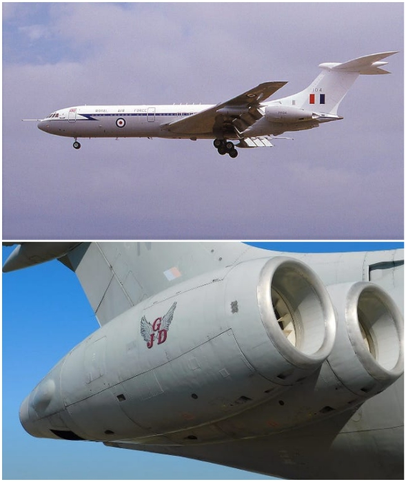 Так выглядит дальнемагистральный авиалайнер Vickers VC10 и турбины двигателя.