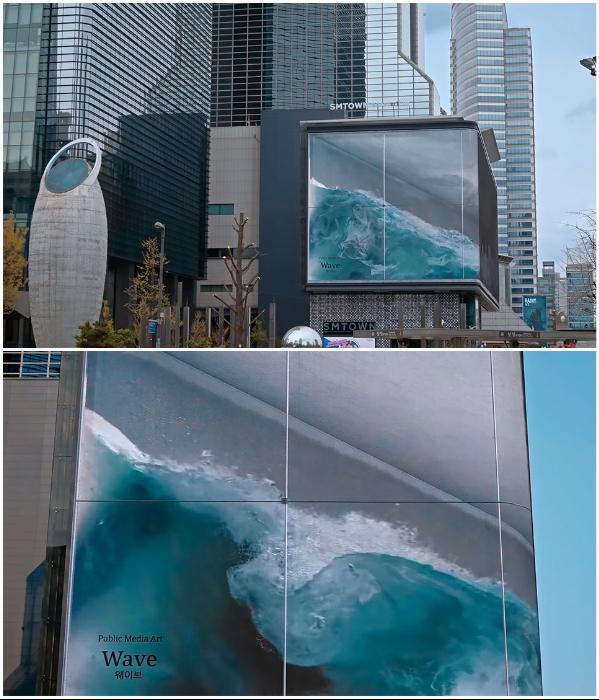 Несмотря на то, что это анаморфная иллюзия, бушующие волны «океана» можно увидеть сразу с нескольких точек площади («WAVE», Сеул).   Фото: viralbandit.com.