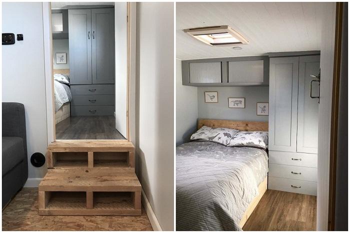 Уютная спальня в доме на колесах.