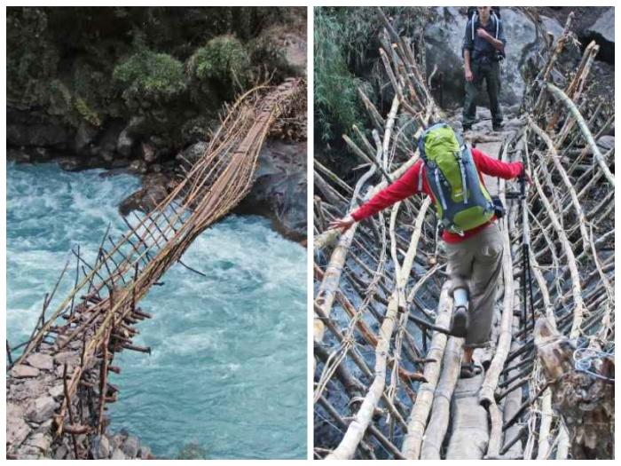 Самые опасные и ужасающие мосты расположены в глубинке Непала. | Фото: outdoorukraine.com.