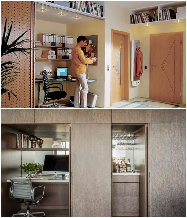 Современные модули помогут спрятать в шкаф не только домашний офис. | Фото: pogovorim.by/ pinterest.se.