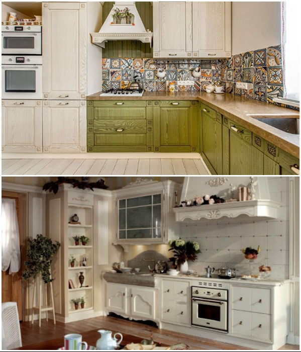 Для кухонь в стиле кантри и прованс нужно выбирать соответствующие ручки. | Фото: dizajninfo.ru/ clubexpert.su.