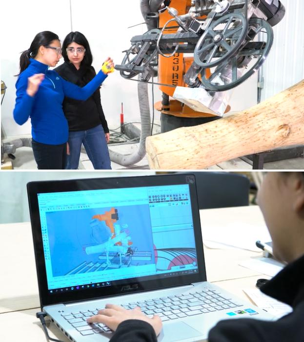 Leslie Lok и Sasa Zivkovic вместе со своими студентами разработали особенный 3D-принтер и перепрограммировали робот-манипулятор. | Фото: archpaper.com.