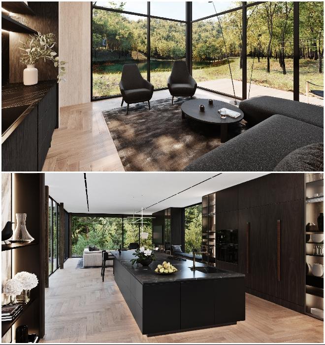 В каждой комнате будет сделан паркетный пол и установлена шоколадно-коричневая мебель из ценных пород деревьев (концепт Sylvan Rock).