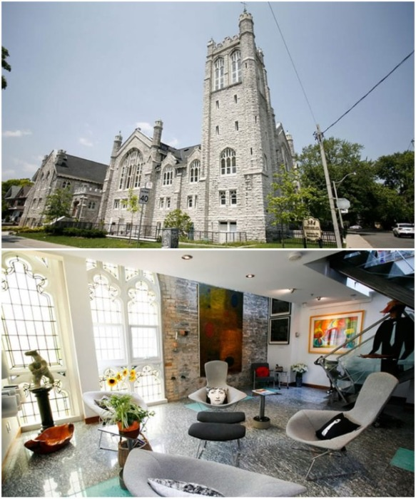 Бывшая методистская церковь Говард Парка в Торонто, построенная в 1910 г., превратилась в роскошные апартаменты (Канада).