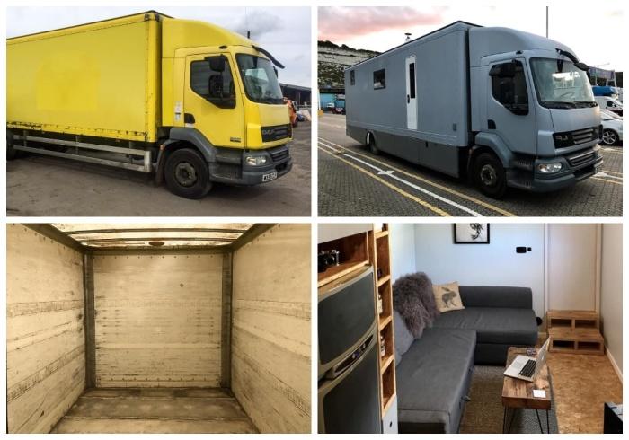 Молодые люди своими силами превратили старый грузовик в уютную квартиру.
