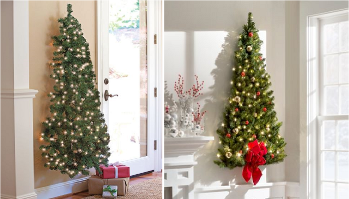 Если не хотите утруждать себя установкой половинчатой новогодней елки, можете ее повесить на стену.