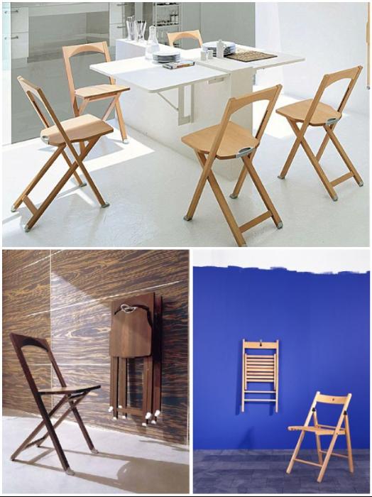 Полноценные раскладывающиеся стулья можно хранить просто на стене в сложенном виде. | Фото: dikovin-ka.ru.