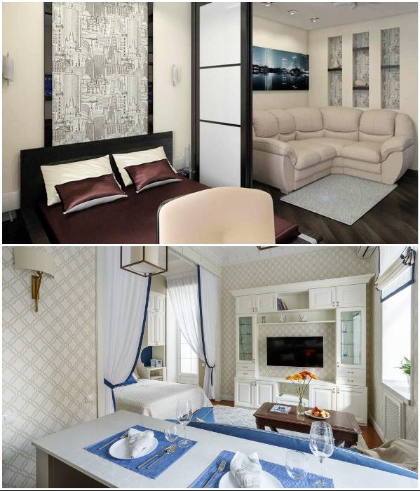Если нет возможности или желания устанавливать раздвижные двери, можно зонировать квартиру, используя текстиль. | Фото: tekstilprofi.com/ pinterest.ru.