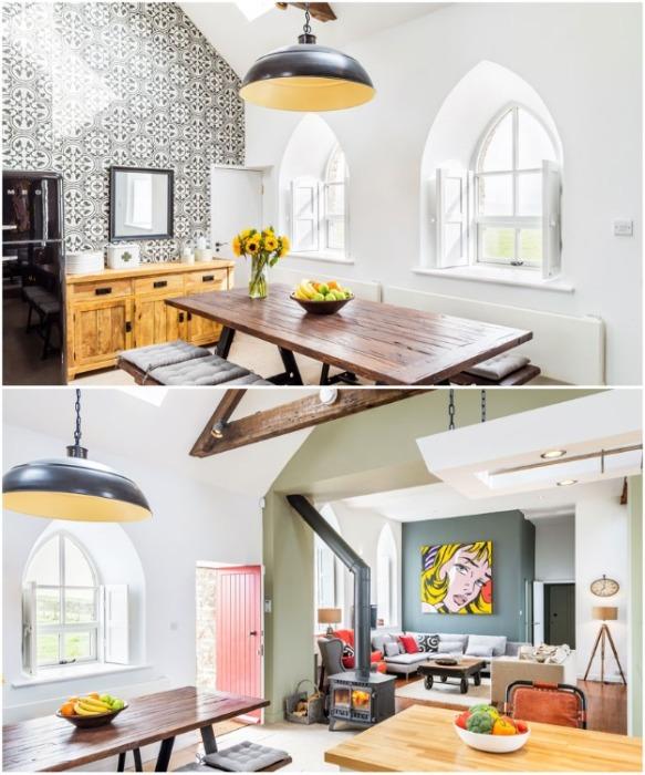 Основной зал часовни придает обновленному гостиному дому ощущение пространства (Миддлтон-Ин-Тисдейл, Великобритания). | Фото: mymodernmet.com.