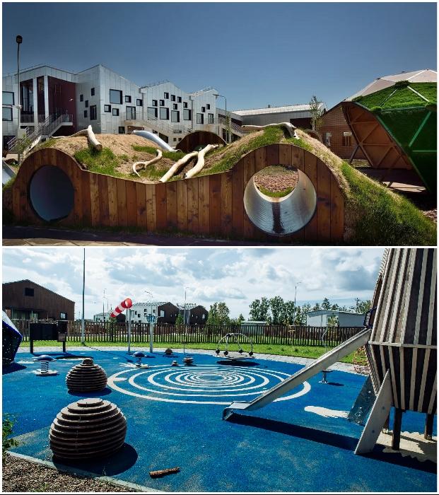 Интересное оформление детских площадок на территории комплекса «Точка будущего» (Иркутск).
