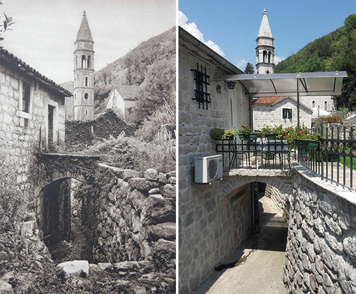 Старинный городок Пераст «захватила» цивилизация (1926 и 2018 гг., Черногория). © Kurt Hielscher / © Casper Molenaar.