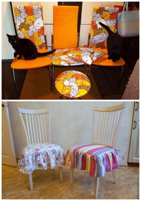 Не только новая обивка способна украсить стул, но и яркий чехол с подушками. | Фото: livemaster.ru.