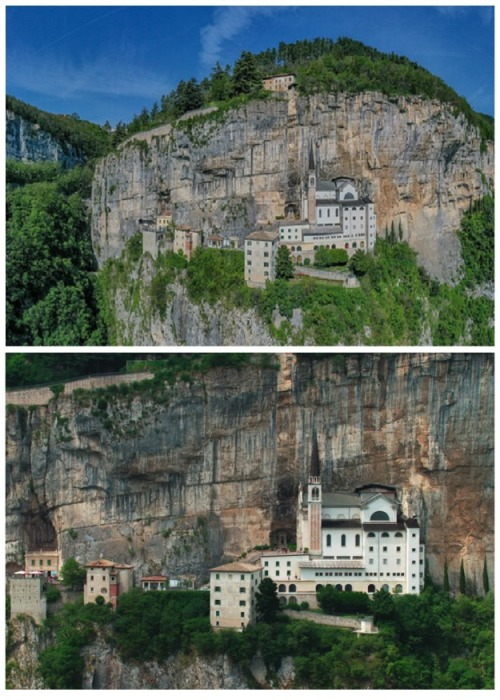 Парящая в небе церковь Santuario Madonna della Corona (Италия). | Фото: baldofestival.org.