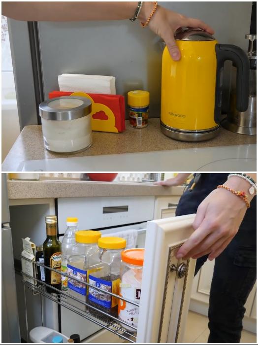 Для разделения зоны варки и боковой части холодильника хватило и 17 см, которые тоже использовали с умом. | Фото: youtube.com/ © Irin Andrez.