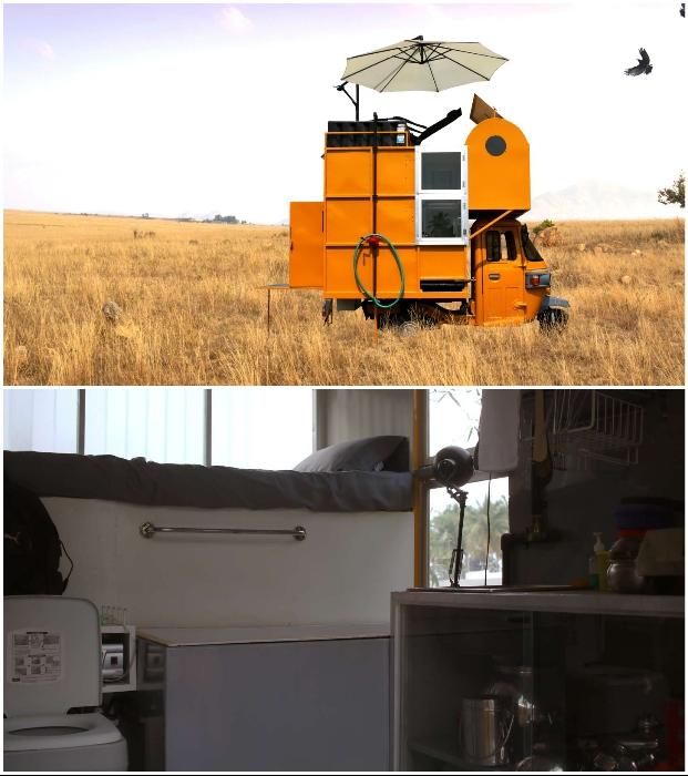 Микро-домик Solo 01 на базе рикши поможет провести выходные на лоне природы (Индия).
