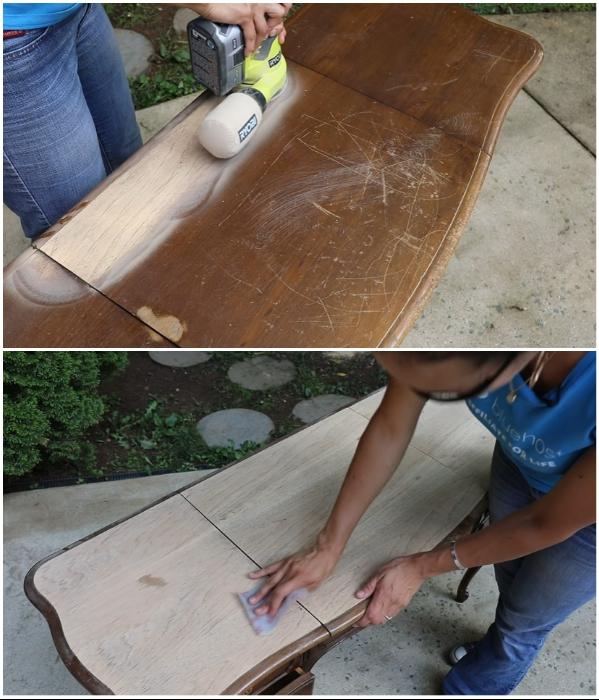 Для очистки поверхности стола можно использовать шлифовальную машину и наждачную бумаг. | Фото: youtube.com/ © Thrift Diving.