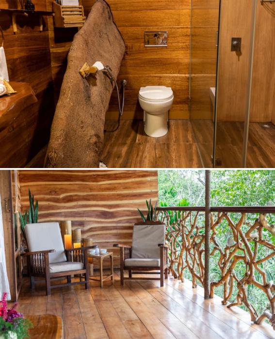 К услугам гостей нестандартная ванная комната и открытая терраса с фантастическими видами. | Фото: tranquilresort.com.