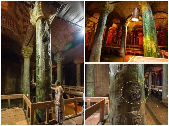«Колонна слез» украшена античными завитками, напоминающими глаза, с которых медленно стекают капли воды (Basilica Cistern, Стамбул). | Фото: vladimirdar.livejournal.com.