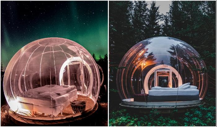 В Исландии появился отель, предлагающий незабываемый отдых под Северным сиянием в полностью прозрачном номере («Bubble Hotel»). | Фото: mymodernmet.com/ pinterest.ru.