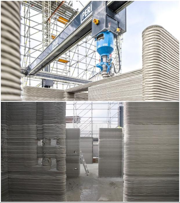 При печати стен, полов и потолков учитывается расположение всех инженерных коммуникаций. © HeidelbergCement Deutschland.