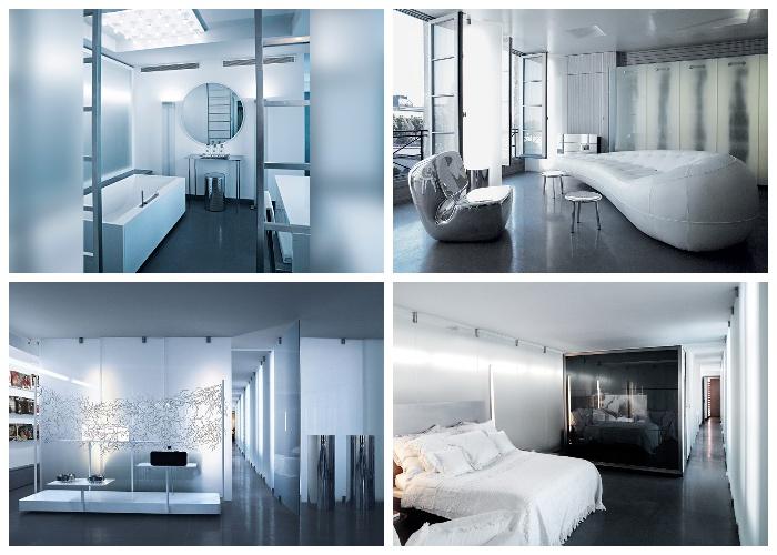 Квартира Карла Лагерфельда оформлена в ультраавангардном стиле (Париж, Франция).