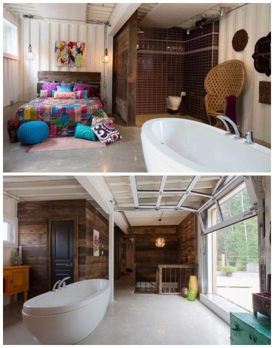 Клоди в своем необычном особняке объединила спальню с ванной комнатой. | Фото: slavikap.livejournal.com.