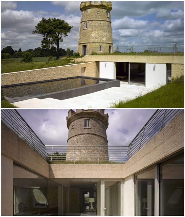 Часть жилого пространства обустроено под землей («Round Tower», Великобритания). | Фото: christiesrealestate.com.