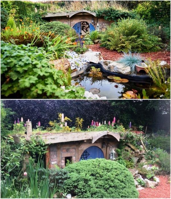 На своем приусадебном участке семейство Хилдов оформили еще и пруд, а также посадили много цветов и вечнозеленых растений («Нора хоббита», Великобритания). | Фото: budport.com.ua.