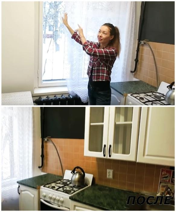 Анна всего лишь за 4 дня освежила интерьер кухни с минимальными затратами.   Фото: youtube.com/ Anna_Studio.