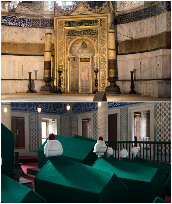 В юго-восточном углу собора создан михраб, а в башнях-минаретах организован мавзолей султанов (Hagia Sophia, Стамбул).