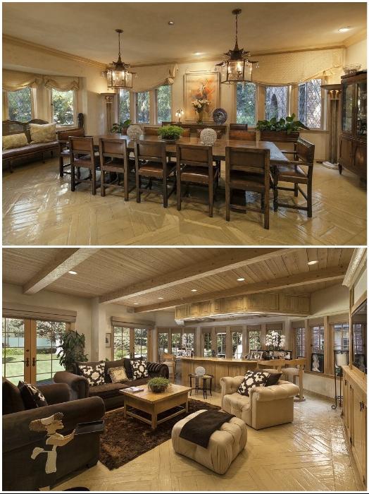 В этой гостиной-столовой в усадьбе «Warner Estate» встречали звезд кинематографа (Лос-Анджелес, США). | Фото: youtube.com/ © Open House TV.