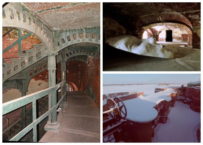 Внутри оборонительного форта «Император Александр I» (Кронштадт, Россия).